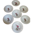 Set of 7 Moss Rose Pattern Ash Trays, Mid Century Japan