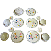 Pretty 1940's Tin Toy Doll Tea Serving Set, Ohio Art, with Covered Cake Plate!