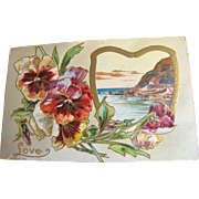 "1910, ""Love"" Embossed Post Card copyright 1910, series 108 K, This card is blank.&#8"