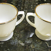 Nice Fire King 22k Gilt Milk Glass Creamer and Sugar , Pristine!
