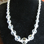 Lovely Vintage 18&quot; Graduated Faceted Crystal Necklace