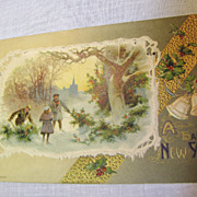 "1910, ""A Happy New Year"", Embossed Winter Scene,"