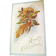 1914, &quot;Hearty Greetings&quot; Embossed Postcard Copyright 1910