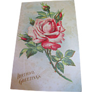 """Birthday Greetings"" Embossed Rose, European Postcard, Circa 1910‏"