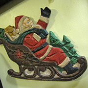 SALE Great Fun Carved Wooden Santa on Sleigh Plaque