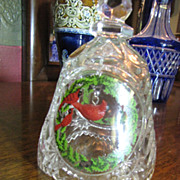 Pretty ArtMark German Lead Crystal Christmas Bell with Cardinal Bird Ringer