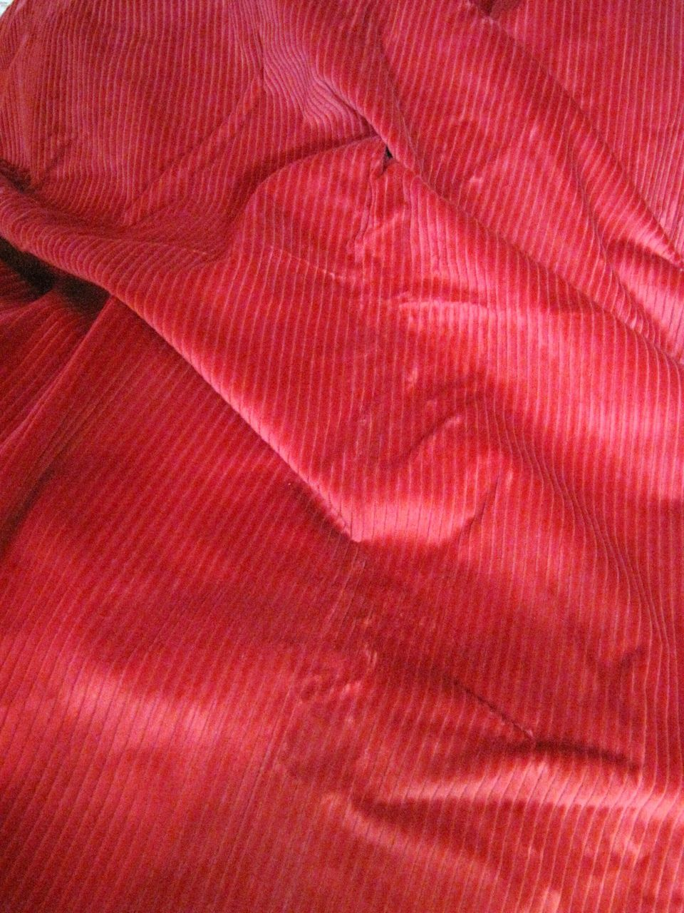 "Wonderful 3yds 24"" Long Bolt End of Red Wide Weave Upholstery Corduroy"