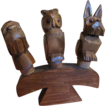 Set of 3 Hand Carved Vintage Wooden Figural Animal Bottle Stoppers