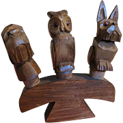 SALE Set of 3 Hand Carved Vintage Wooden Figural Animal Bottle Stoppers