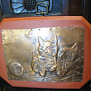 Cute Handmade Copper Wall Plaque of Kitties with Wool