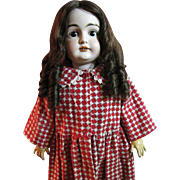 SALE Darling Red and White Flannel Winter Dress for Larger Bisque Doll
