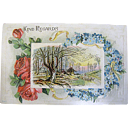1910 &quot;Kind Regards&quot; Embossed Postcard&#8207;