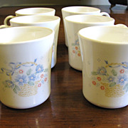 Nice Set of 8 Corning Country Cornflower Mugs