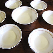 Nice Set of Six 7&quot;  Bowls + Serving Bowl, Corning Country Cornflower
