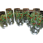 Super Long Set of Ten Anchor Hocking Vintage Holly Tumblers