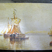 Early 20th century, &quot;Under Venetian Skies&quot; Postcard from painting by H. Romanie ,&#8