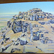 """The Mesa and Old Walpi"" mid 20th Century Postcard‏"