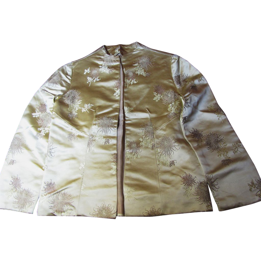 Elegant Edge to Edge Vintage Oriental Silk Brocade Jacket