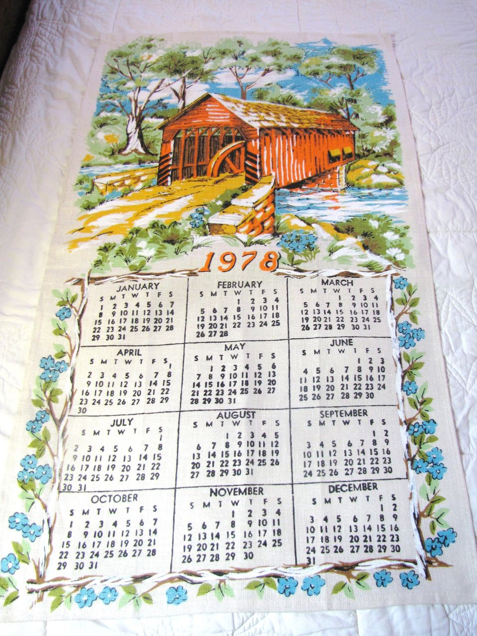 Nice Vintage Covered Bridge Pure Linen Calendar Tea Towel