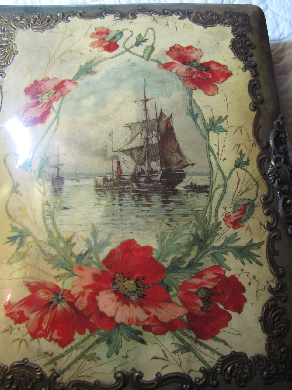 Victorian Celluloid Photo Album - Ship at Anchor