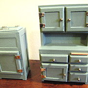 SALE Nice Green Painted Doll House Ice Box and Buffet
