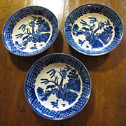Nice Set of 3 Blue Willow Japan Berry Bowls