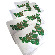 Nice Set of Seven 14&quot; Christmas Cotton Napkins
