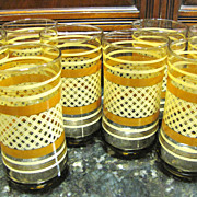 SALE Set of 8 Retro Brown Transfer Tumblers, Very Cool!