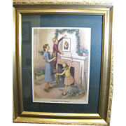 1950's Framed Christmas Print, Hanging the Green Garlands