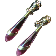 Lovely Retro Modern Amethyst Glass Dropper Earrings