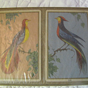 Vintage circa 1940s Congress Playing Cards Tropical Birds New Sealed‏