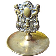 1900, Antique Brass Embossed Cherub Ornate Matchbox Holder With Pipe Ashtray‏
