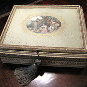 Lovely Vintage Cosmetic Box with Pastoral Scene