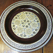 Nice Vintage Egyptian Mother of Pearl Inlaid Wall Plate