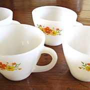 4 Vintage Fire King Anchor Hocking Glass Floral Cups