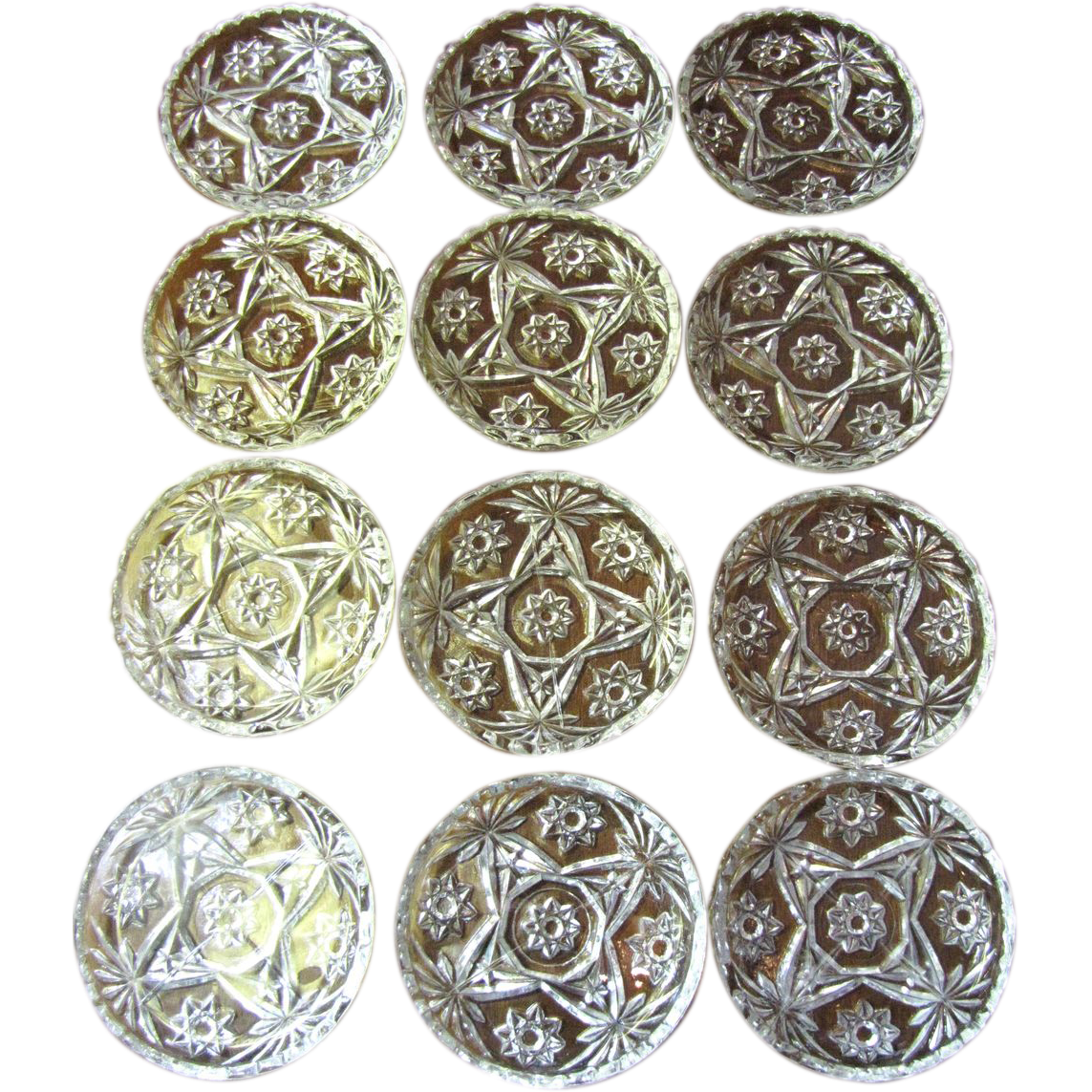 Long Set of 12 Anchor Hocking Pressed Glass Coasters