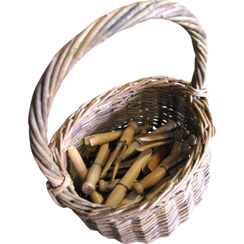Primative Old Wicker Basket with 40 Hand Made Wooden Clothes Pegs
