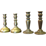 SALE Super Solid Brass Early Vintage Candlesticks, Perfect for the Doll Room