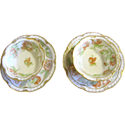 Beautifull Pair of Antique French Haviland Limoges Ramekin Dishes with Underplates