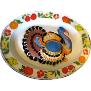 SALE 1950's Tole Turkey Platter, Display or Thanksgiving?