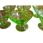 "Set of Six Anchor Hocking ""Block Optic"" Green Footed Sherbets"