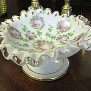 Vintage Fenton Silver Crested Crimp Pedestal Ruffled Bowl Roses Hand-Painted