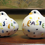 Pair of Cute Vintage Ceramic Easter Chick Ornaments