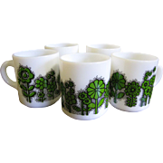 Set of FIVE Vintage Retro Milk Glass Coffee Mugs