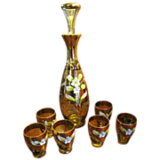 Vintage Italian  Enameled Murano Glass Decanter with 6 Cordials