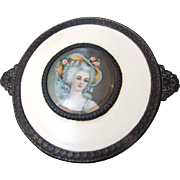 SALE Loveliest 1930's Gilt Metal & Celluloid Portrait Dresser Trinket Box