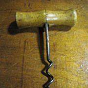 1900s Original Antique Fine Hand Forged Iron Wooden Cork Screw