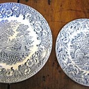 "Two Kingswood Blue Plates, 7"" and  7 3/4"" by EIT of England"