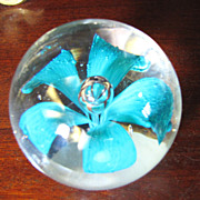 Lovely Art Glass Blue Flower Paperweight