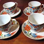 Set of Four Early Woods & Sons Bird Design Demitasse Cups & Saucers